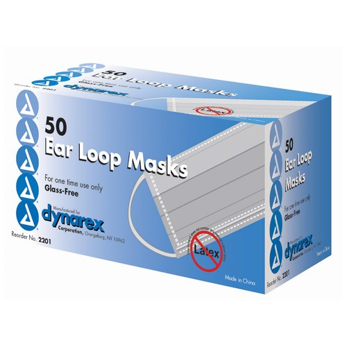 Dynarex Corp. Face Masks, Pleated with Earloops