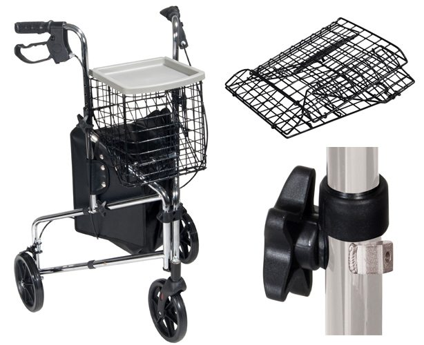Deluxe 3 Wheel Steel Rollator