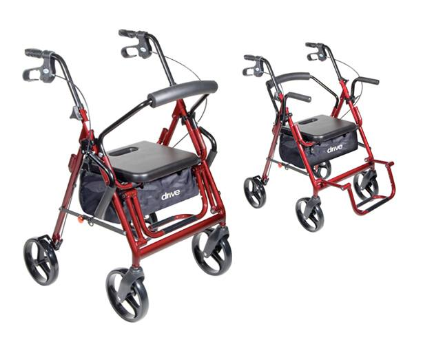 Drive Medical Duet Transport Wheelchair Chair Rollator Walker