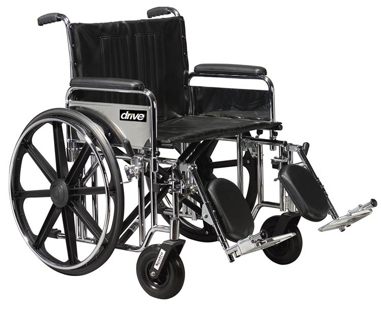 Drive Medical Sentra Extra Heavy Duty Wheelchair- 24 in. width