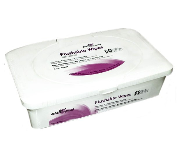 AMD-Ritmed Flushable Adult Wipes, 9 x 13 inches