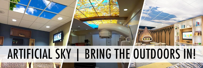 """Banner of ceiling examples that Artifical Sky has to offer. """"Bring the Outdoors In"""""""
