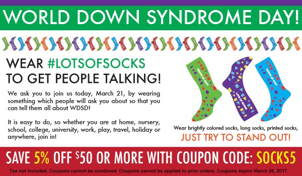 Its World Down Syndrom Day! Save 5% on Orders with Coupon Code: SOCKS5