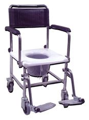 Portable, Upholstered, Wheeled Drop-Arm Commode