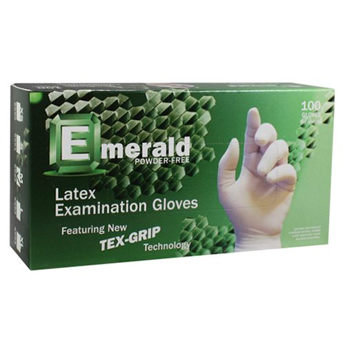 Emerald Textured Latex Powdered Gloves