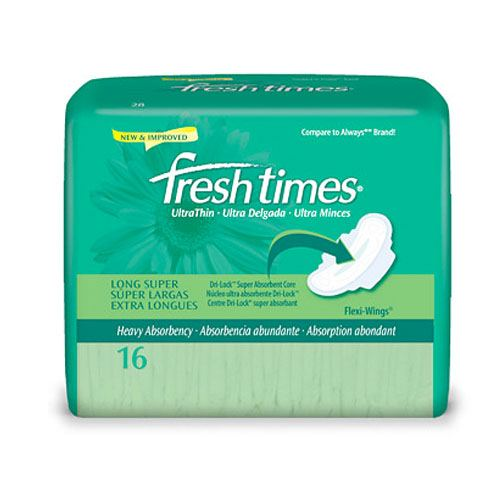 First Quality Products Fresh Times Maxi Pads, Ultra Thin with Wings