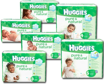 Kimberly Clark Huggies Pure & Natural Disposable Baby Diapers