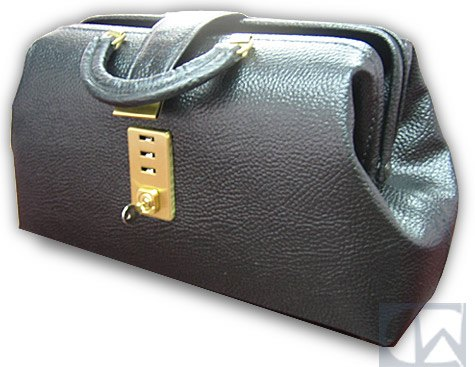 Black Leather Specialist Bag with Brass Fittings