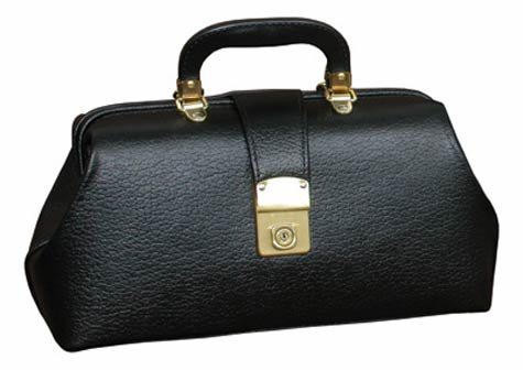 Graham Field Black Leather Specialist Bag with Brass Fittings