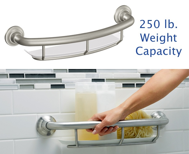 Grab Bar with Integrated Shelf