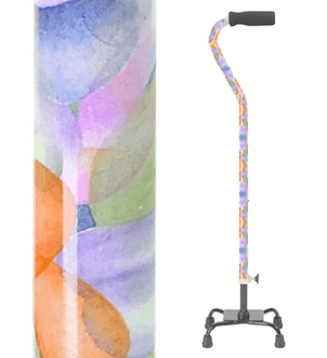 Quad Cane, Small Base - Rainbow Design