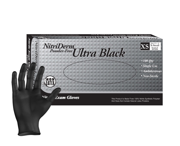 Innovative Healthcare Nitriderm Ultra Black Powder Free Nitrile Exam Gloves