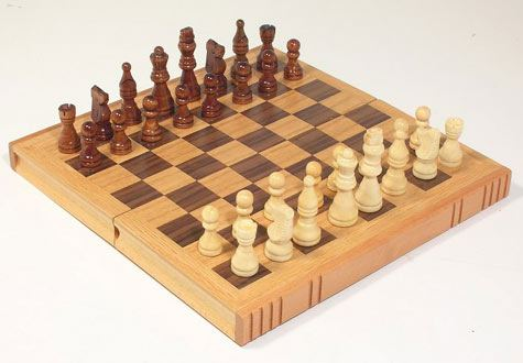 Your Move Chess Oak Book Chess Set