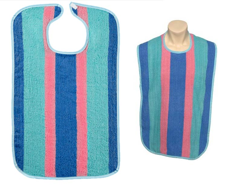 Adult Striped Reusable Bib with Full Barrier